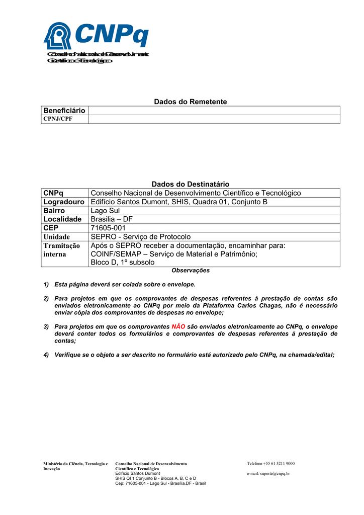 Modelo para encaminhamento de notas fiscais para registro