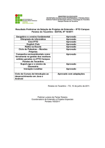 Resultado preliminar - Instituto Federal do Tocantins