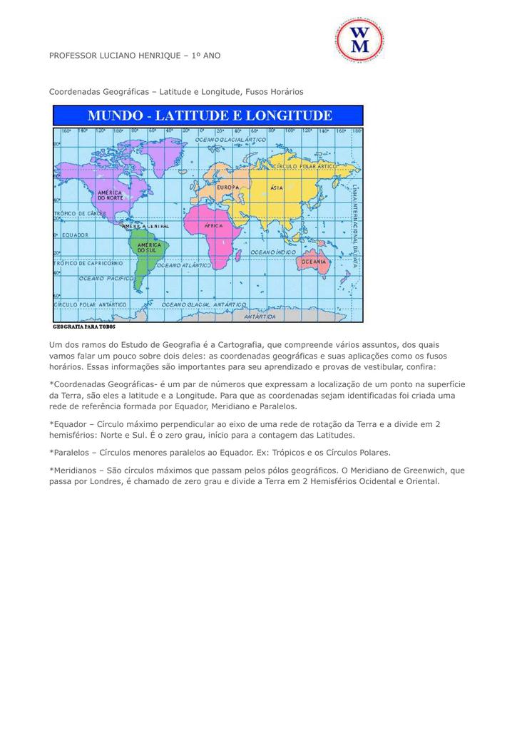 coordenadas geográficas 1ºano