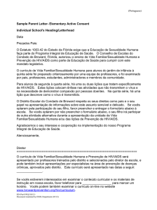 (Portuguese) Sample Parent Letter