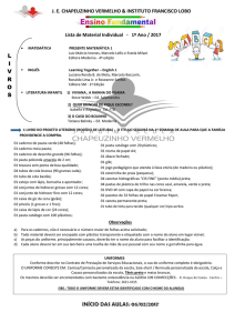 LISTA - FUNDAMENTAL 1 1º ao 5º ano