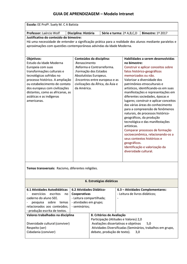 Guia De Aprendizagem Modelo Intranet