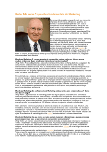 Kotler fala sobre 5 questões fundamentais do Marketing