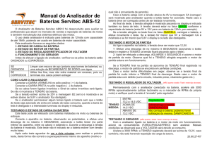 Manual do Analisador de Baterias Servitec ABS-12