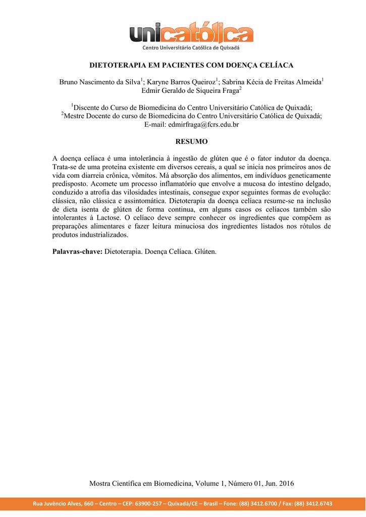 Doenca celiaca dieta pdf