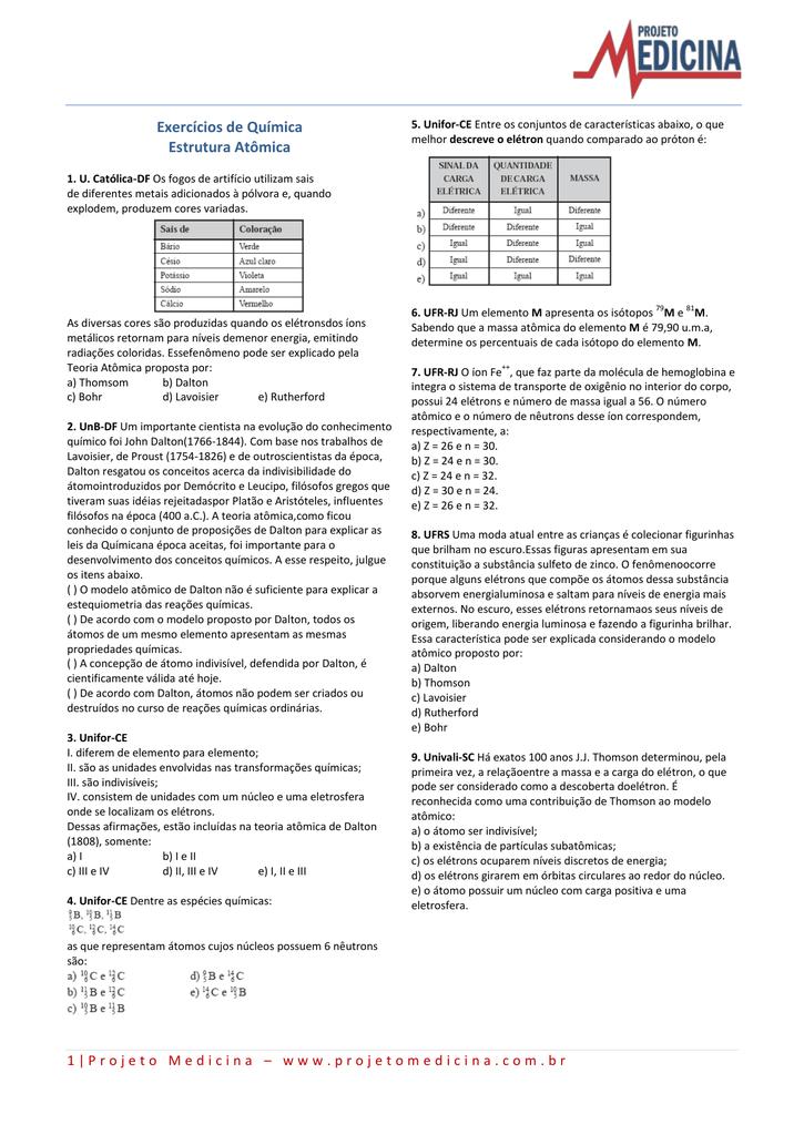 Exercícios De Química Estrutura Atômica