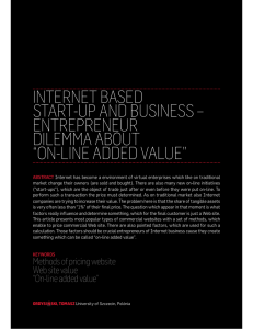 INTERNET BASED START-UP AND BUSINESS