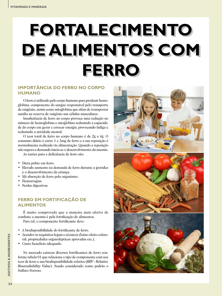 Sulfato ferroso en alimentos