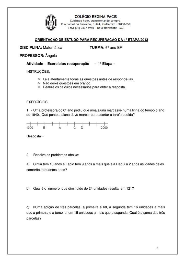 Disciplina Matematica Turma 6º Ano Ef Professor Angela