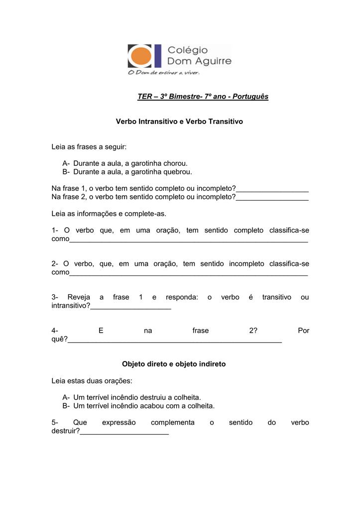 Ter 3º Bimestre 7º Ano Português Verbo Intransitivo E Verbo