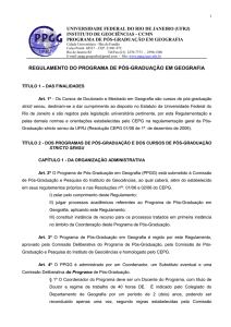 Regulamento do PPGG - Departamento de Geografia da UFRJ