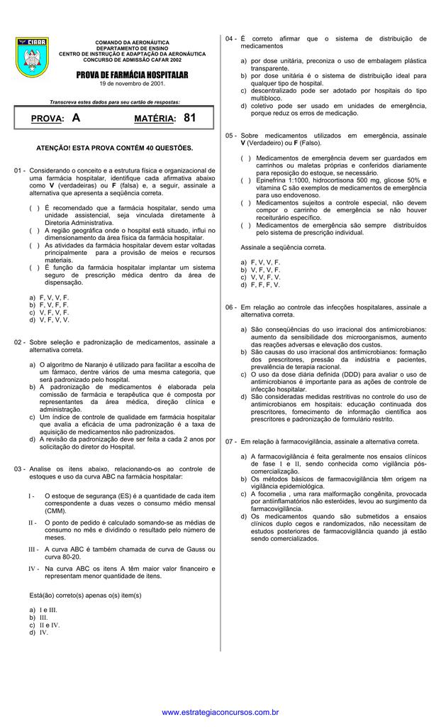 Prova A Matéria 81 Prova De Farmácia Hospitalar