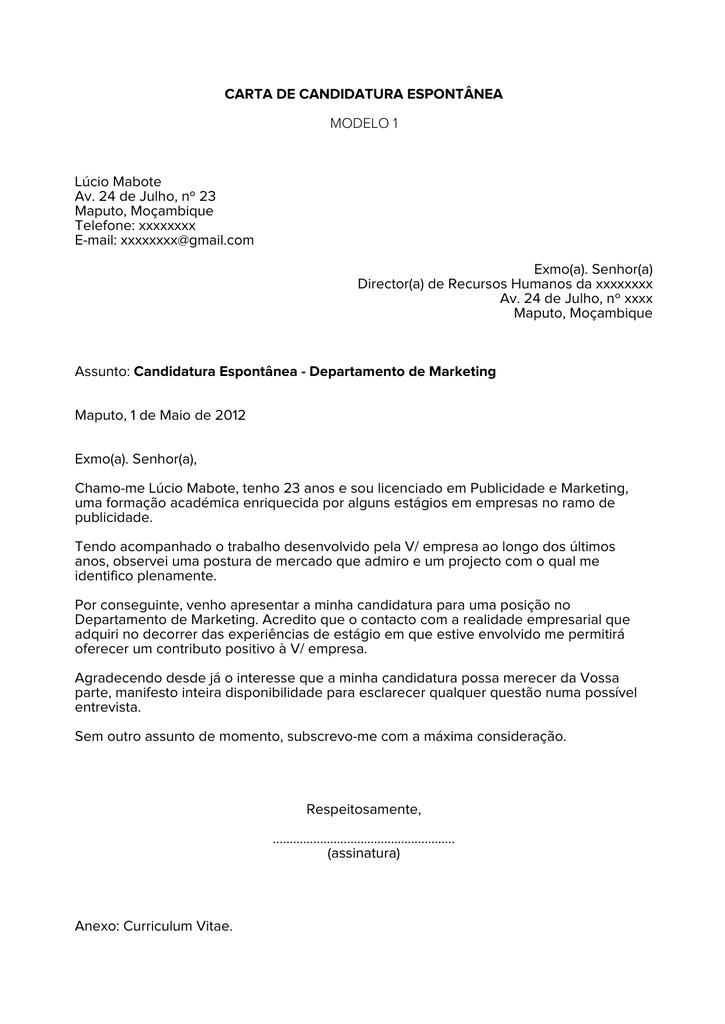 Carta De Candidatura Espontânea Modelo 1 Lúcio