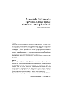 Democracia, desigualdades e governança local