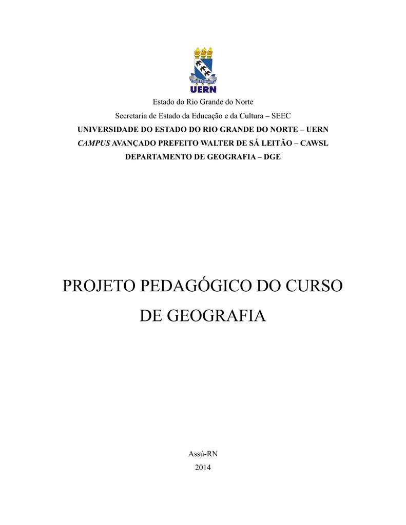 Projeto Pedagógico Do Curso De Geografia