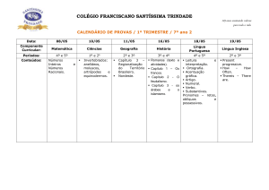 7º Ano 2 do Ensino Fundamental - Colégio Franciscano Santíssima