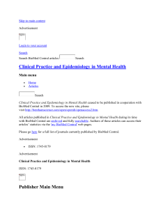 Table 1 - Clinical Practice and Epidemiology in Mental Health