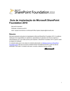 Implantação do SharePoint Foundation 2010
