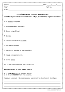 Classes gramaticais – 7º ano – Modelo editável