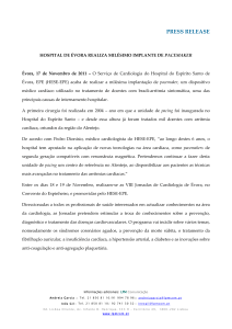 PRESS RELEASE HOSPITAL DE ÉVORA REALIZA MILÉSIMO