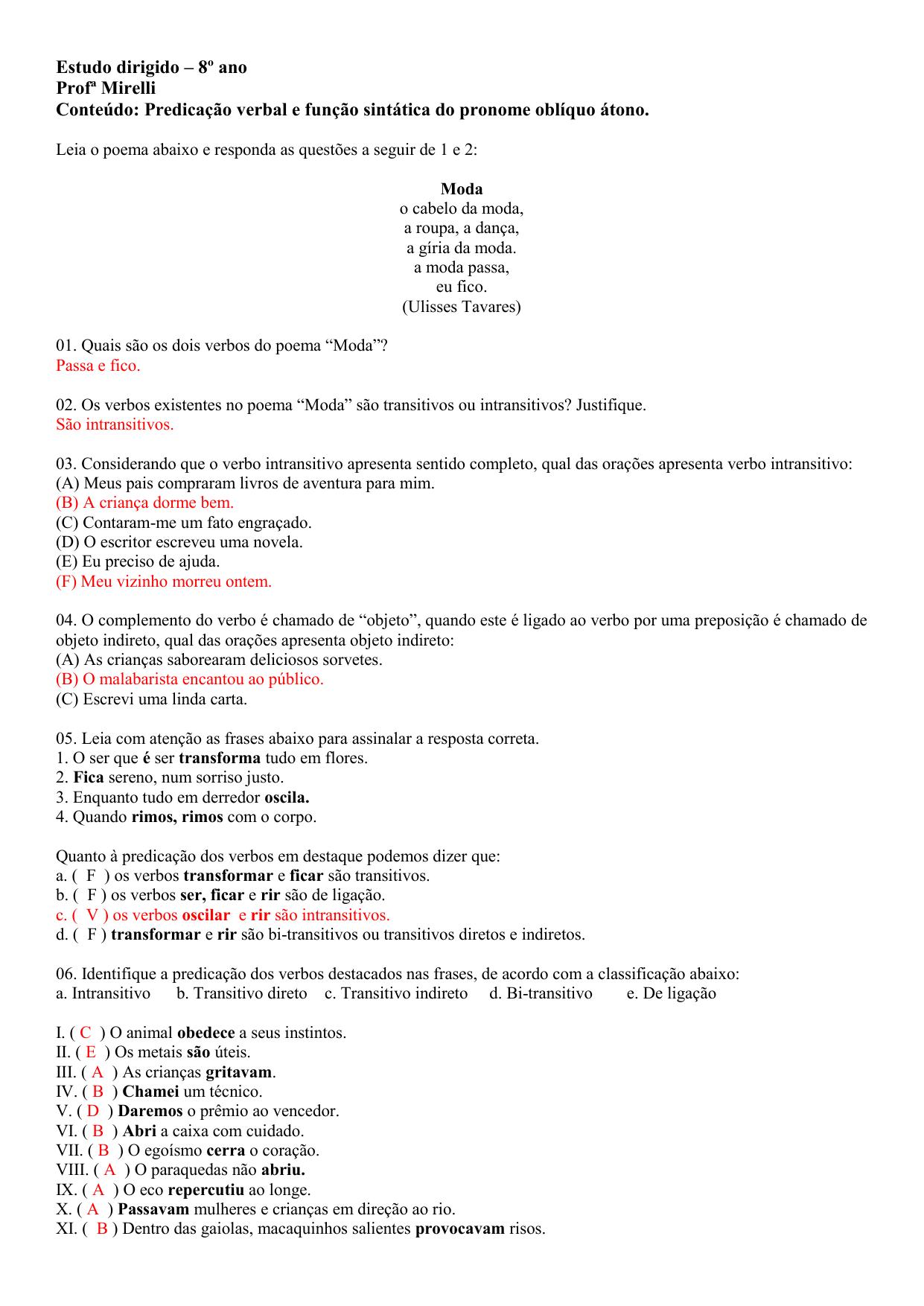 Gabarito Estudo Dirigido 8º Ano P7 1º Bim
