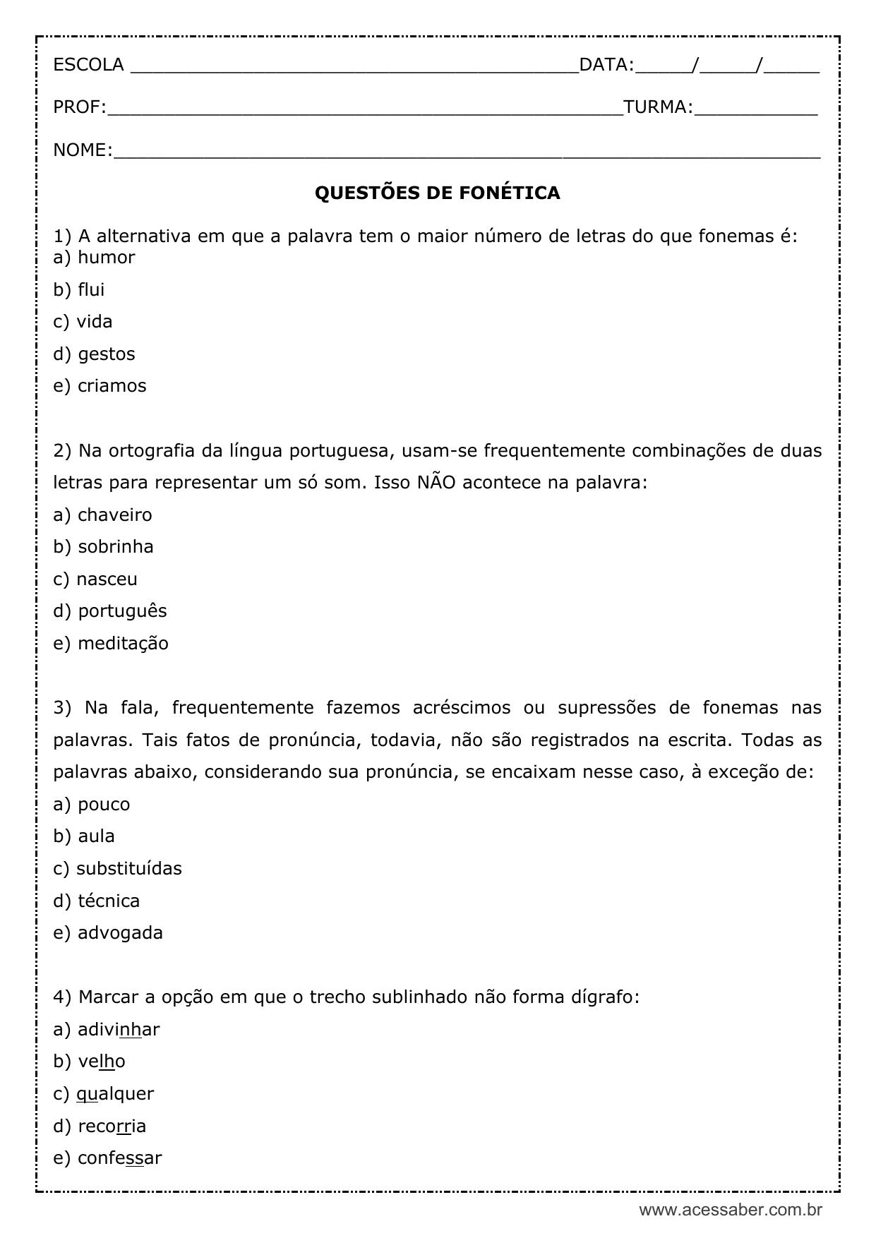 fonemas portugues