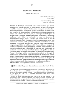 [7] SOCIOLOGIA DO DIREITO SOCIOLOGY OF LAW Resumo: A
