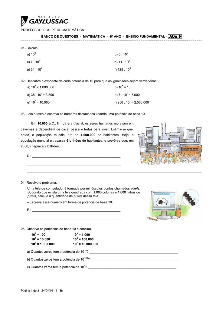 Matematica 6º Ano Ensino Fundamental Parte 2