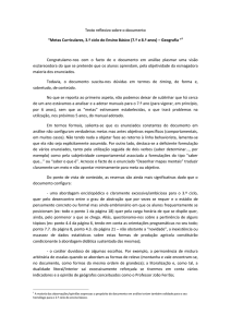 "Texto reflexivo sobre o documento ""Metas Curriculares, 3.º ciclo do"