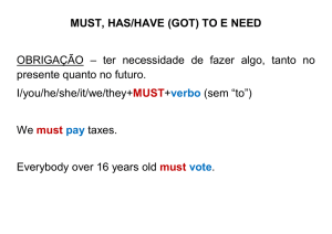 MUST, HAS/HAVE (GOT) TO E NEED OBRIGAÇÃO – ter