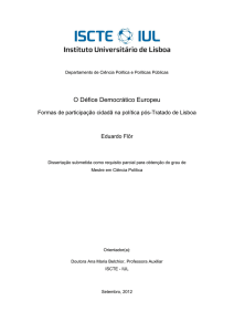 O Défice Democrático Europeu - Repositório do ISCTE-IUL