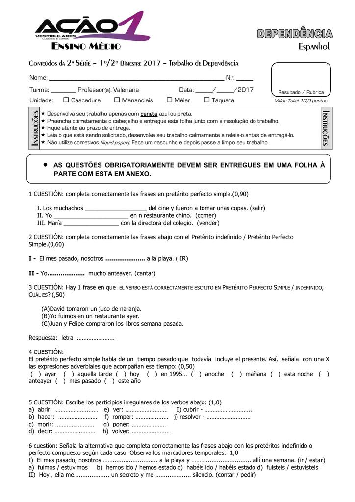 Espanhol Instruções Instruções