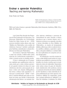 Ensinar e aprender Matemática Teaching and learning