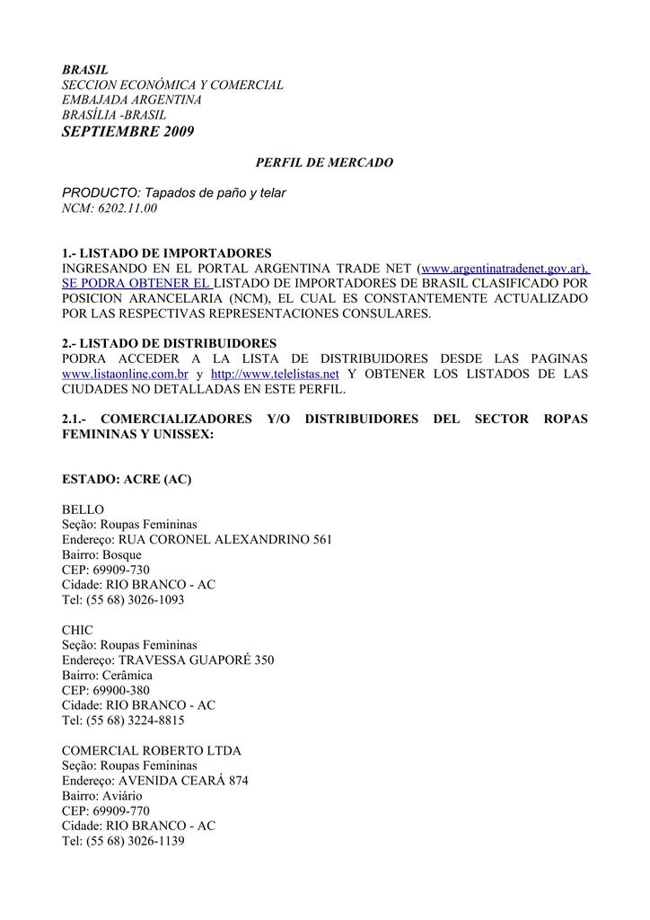 3595c7fe2bb2 septiembre 2009 - Argentina Trade Net