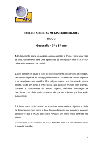 PARECER SOBRE AS METAS CURRICULARES 3º Ciclo Geografia