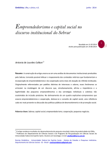 Empreendedorismo e capital social no discurso institucional do