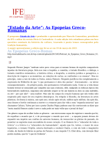 """Estado da Arte"": As Epopeias Greco-Romanas"