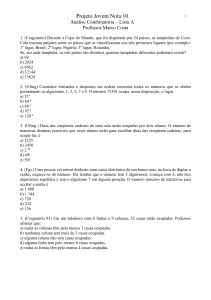 analise combinatoria lista A