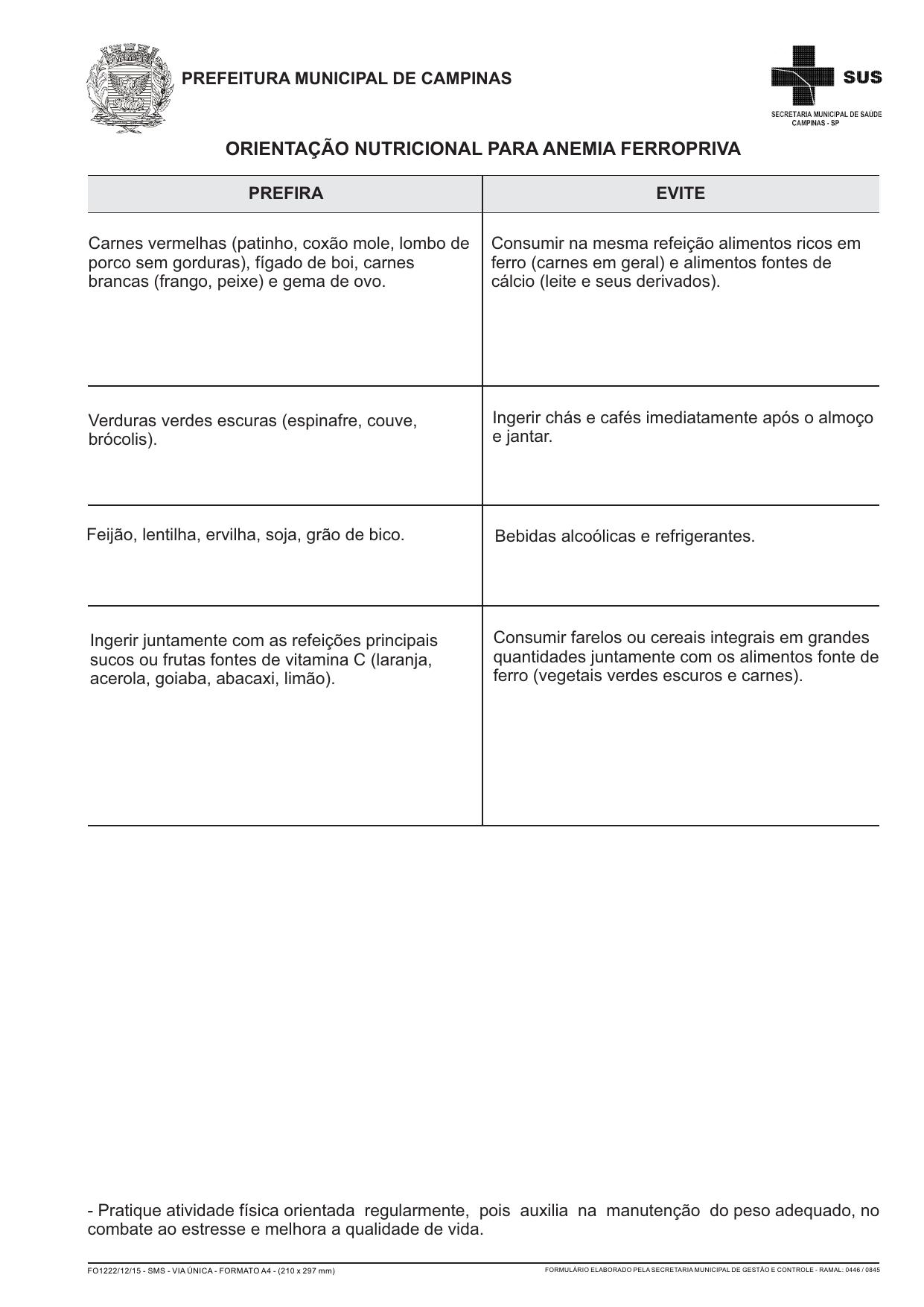 Conduta nutricional anemia ferropriva