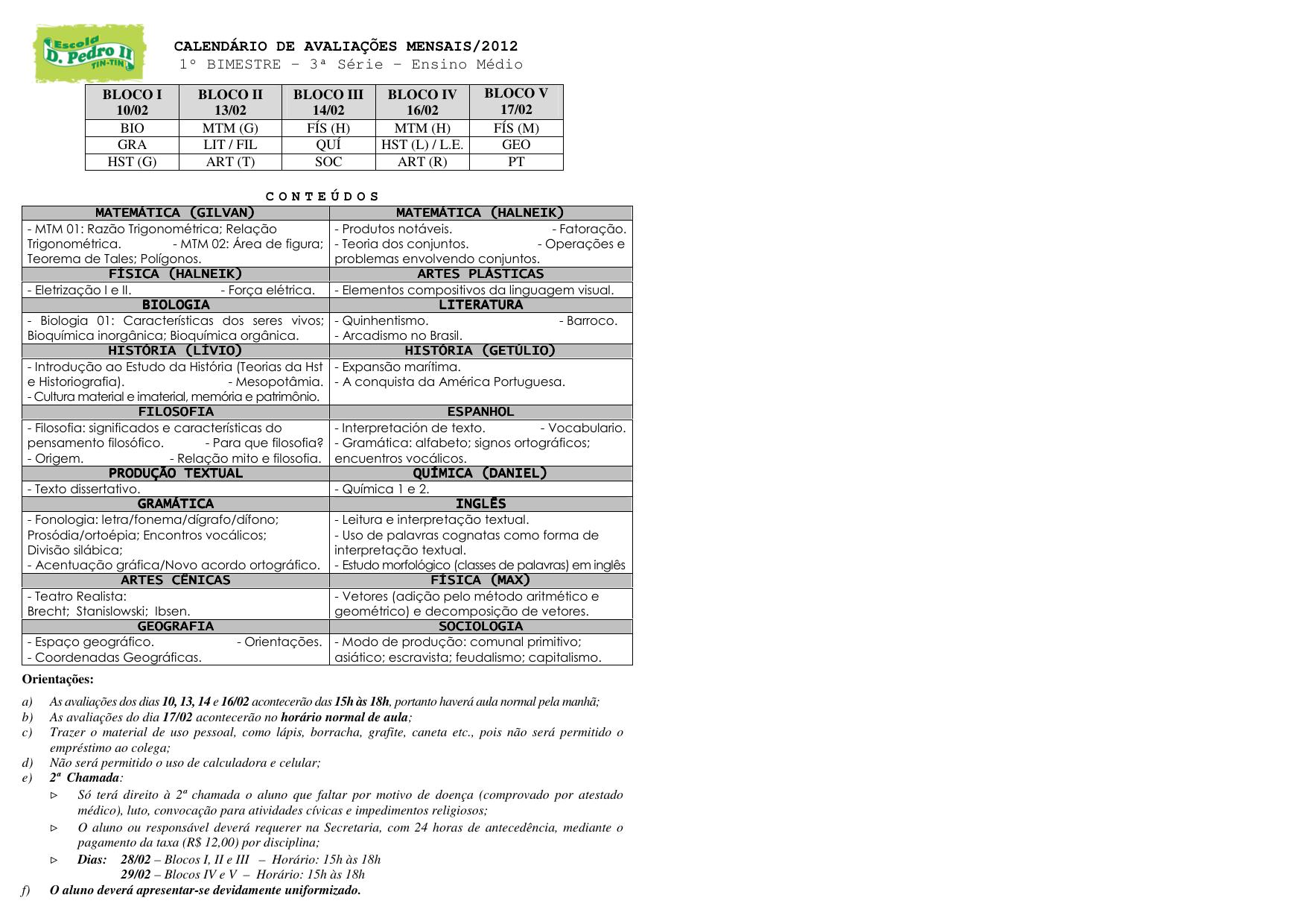 Fis Calendario.Calendario De Avaliacoes Mensais