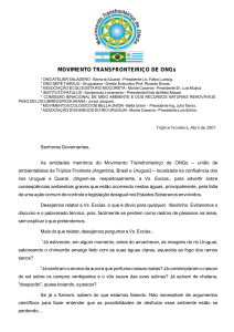 Leia a Carta aos Presidentes do Mercosul