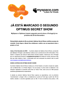 já está marcado o segundo optimus secret show optimus secret show