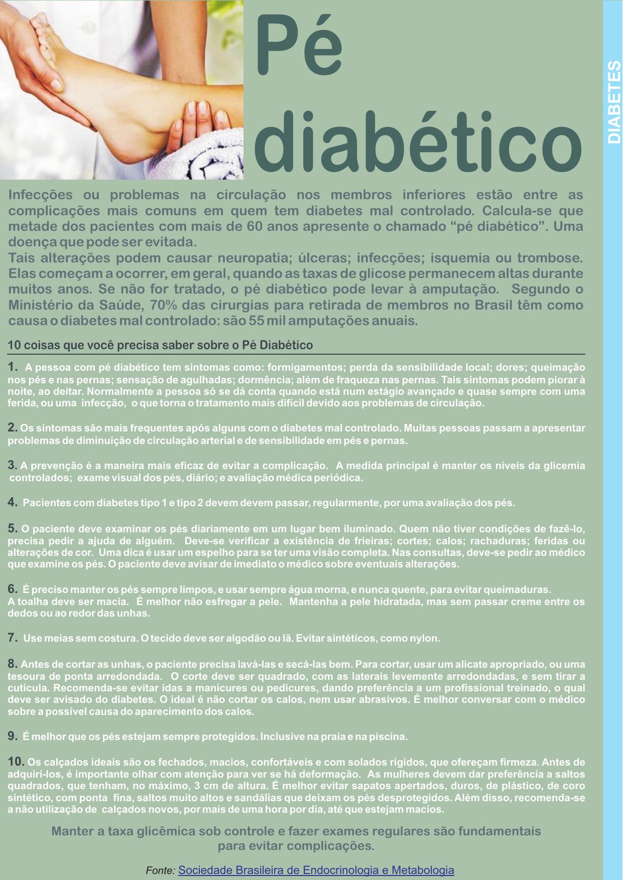 Do diabético pé não formigamento