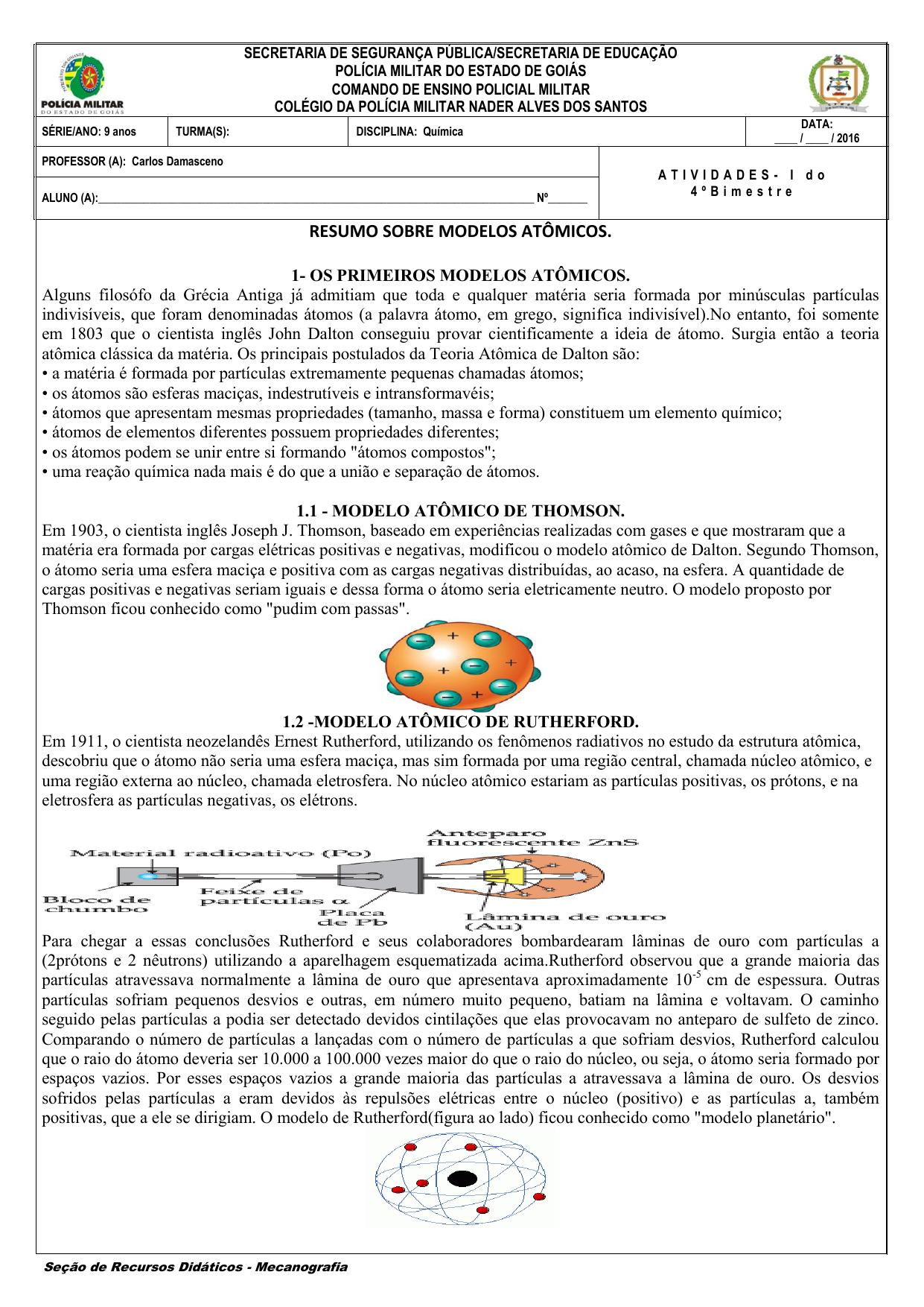 Resumo Sobre Modelos Atômicos Cpmg Sargento Nader Alves