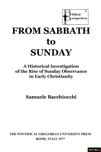 from Sabbath to Sunday samuele bacchiocchi