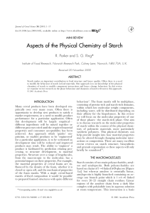 Aspects of the Physical Chemistry of Starch